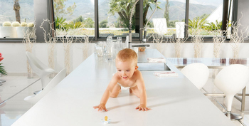 baby on white table top