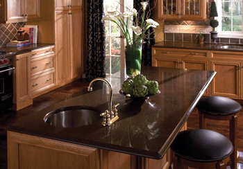 brown kitchen counter tops